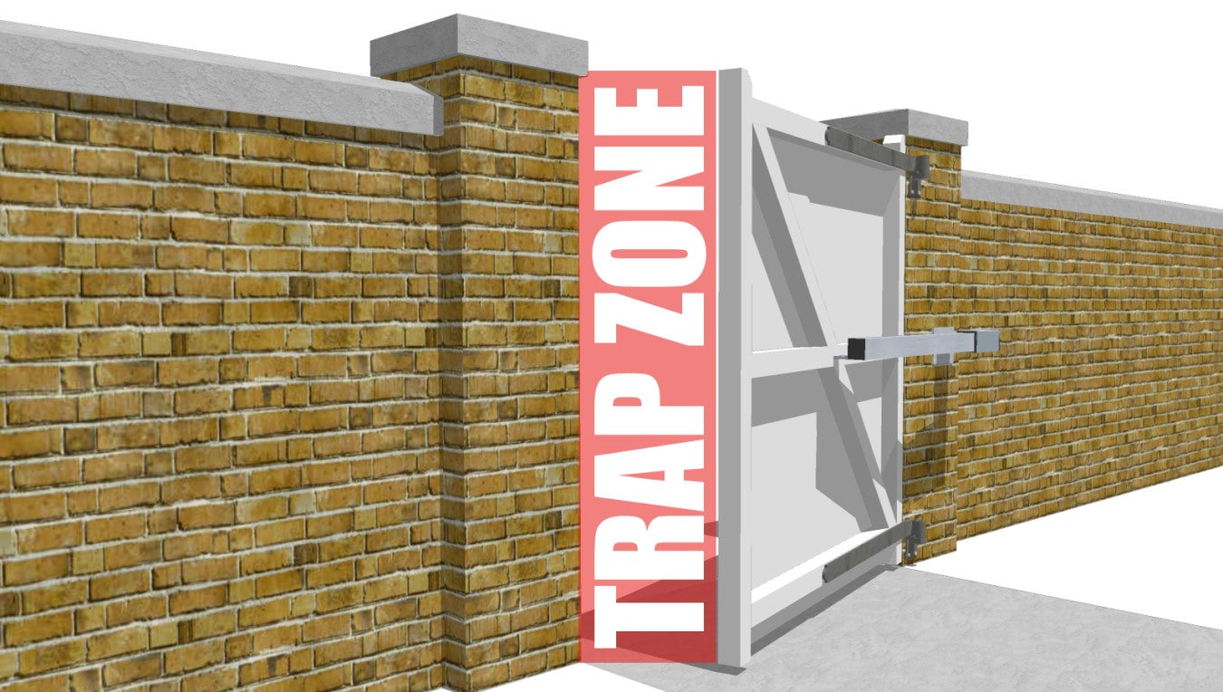 Trapzone areas for automated gate