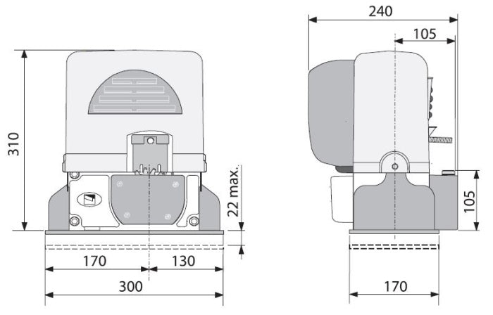 dimensions for came BX 243 or BX 246 kit