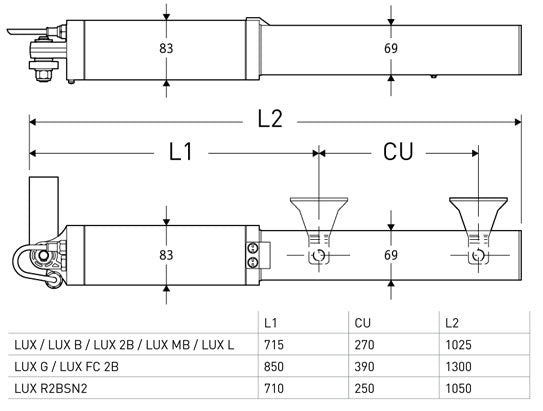 Dimensions for BFT Lux Single Gate Kit
