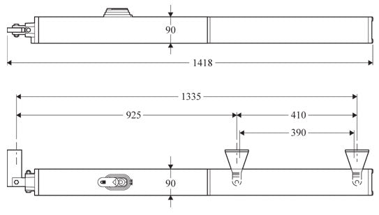 Dimensions for BFT P Series Single Arm