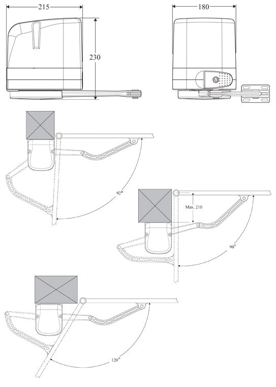 Dimensions for BFT Virgo articulated arm kit