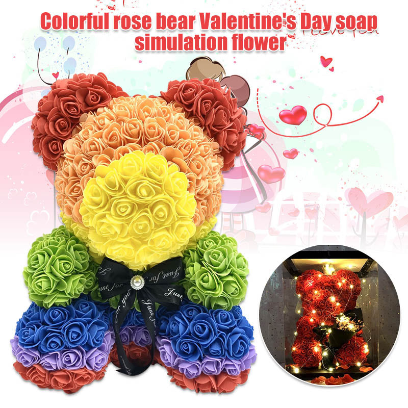 500+ ROSES BEAR with light decoration BOX