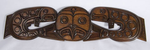 Two Salmons and Salmon Head Carving by Delmar Joseph