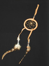 Leather Dreamcatcher with feathers and beads