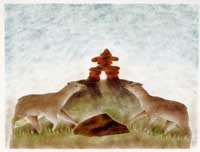 Two Caribou by the Inukshuk