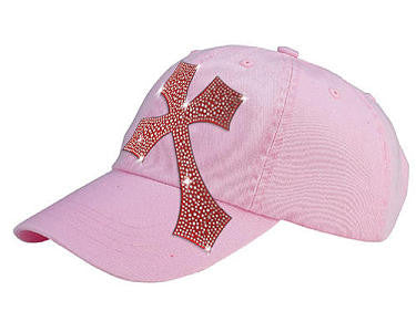 Women's Pink Rhinestone Cross Ball Cap