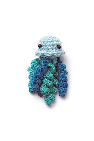 Crochet Jellyfish Pin in Aquamarine