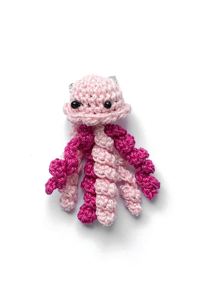 Crochet Jellyfish Pin in Barbie