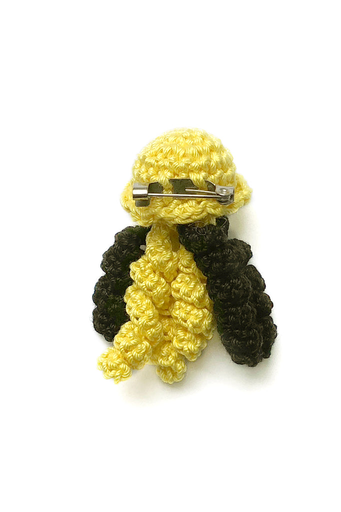 Crochet Jellyfish Pin in Bumblebee