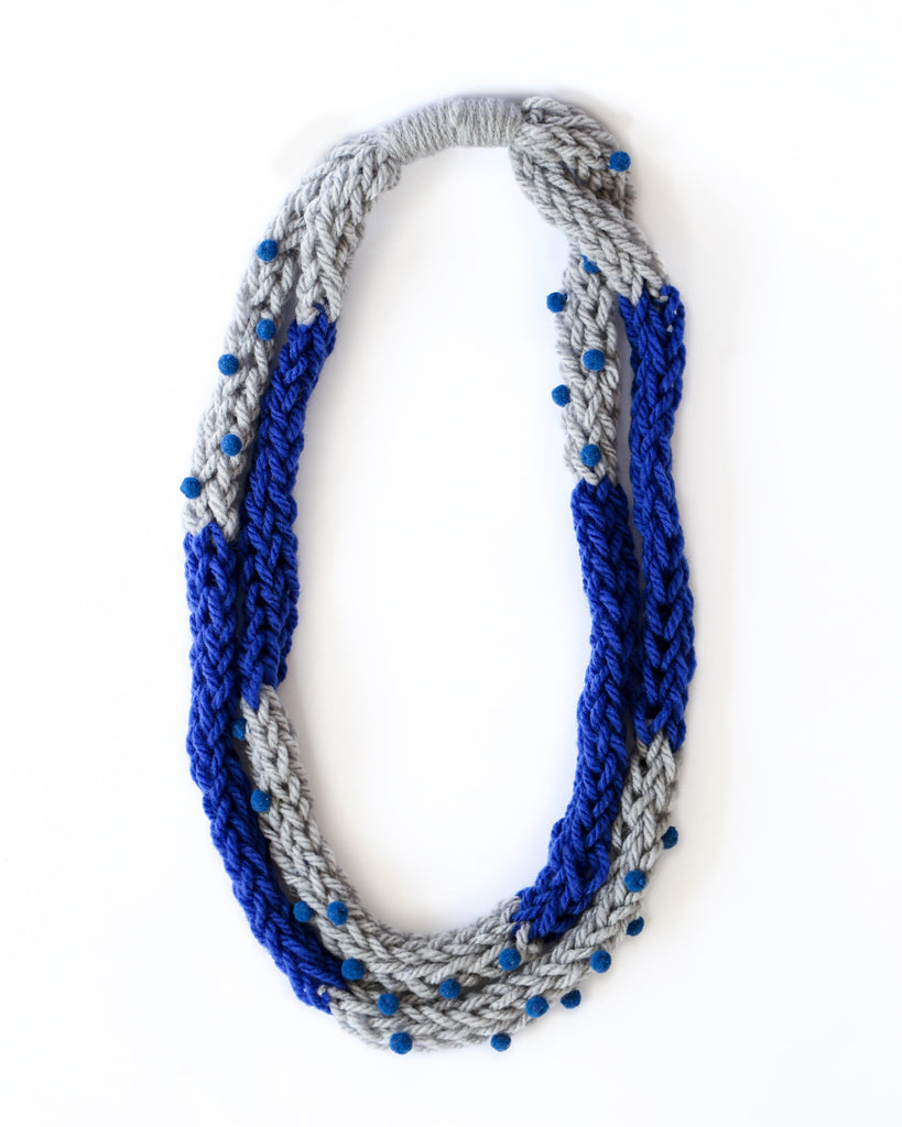 Loopy Necklace in Grey/Blue *Made upon order*