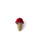 Single Scoop Ice Cream Pin in Dark Red