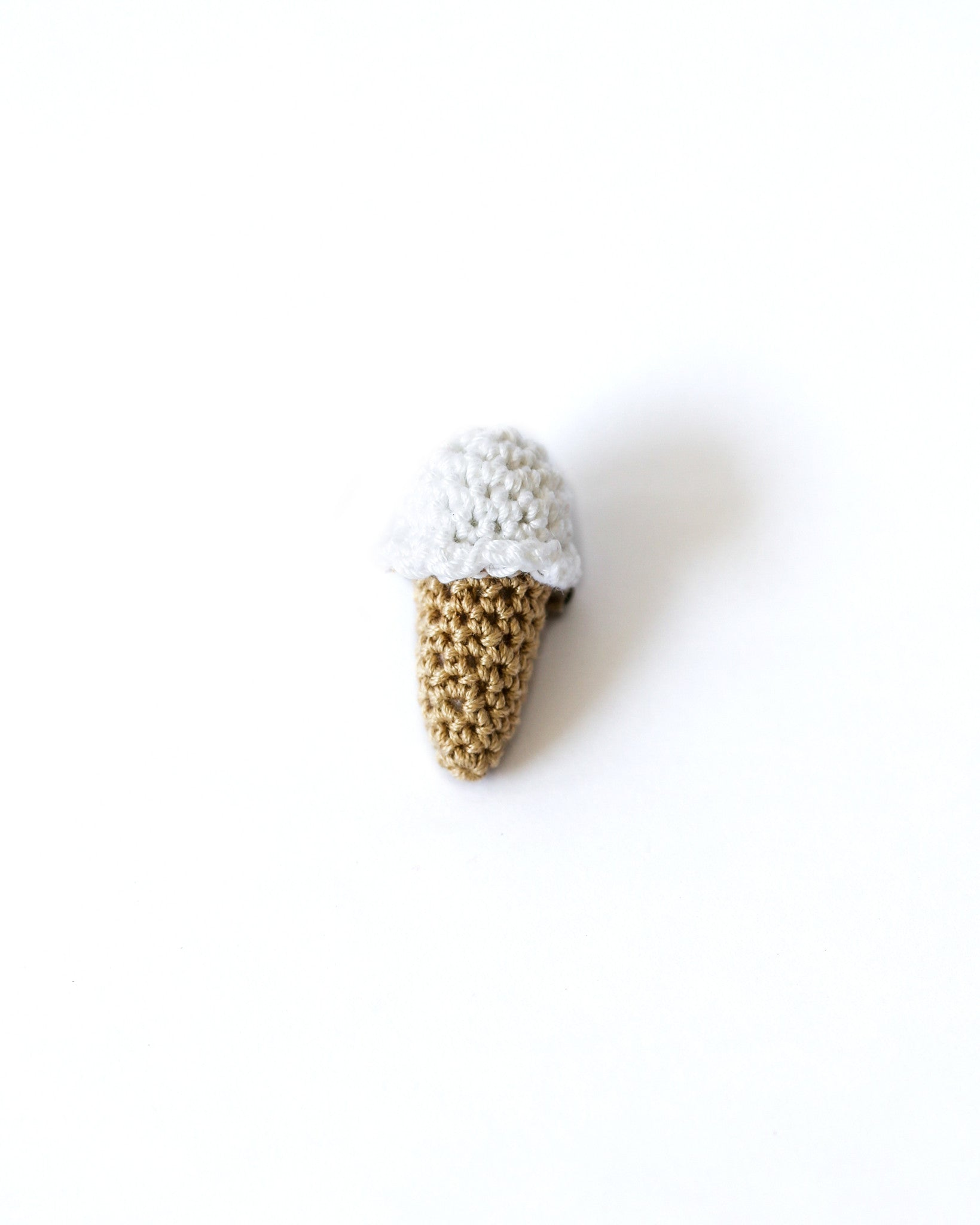 Single Scoop Ice Cream Pin in White
