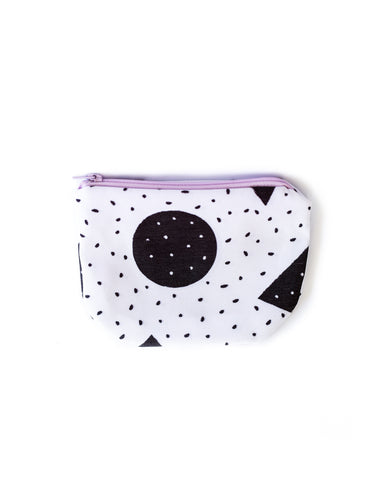 Speckled Shapes Pouch with Lavender Zipper