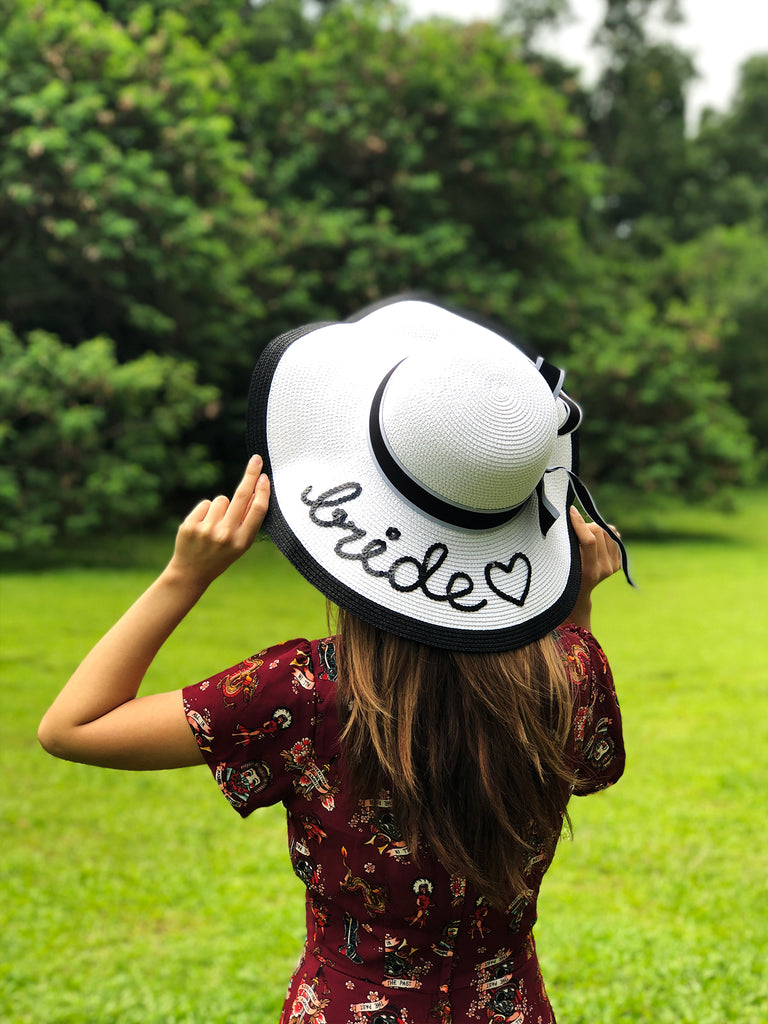 Monochrome Sun Hat - Personalised Text