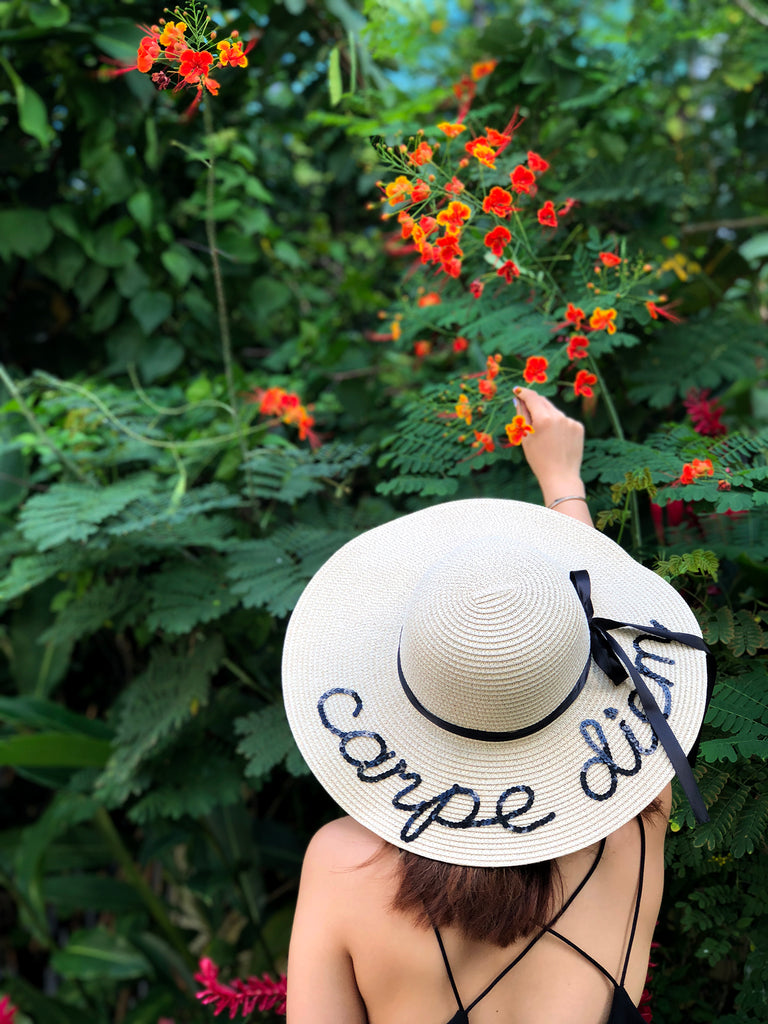 "Sequin Sun Hat in ""carpe diem"""