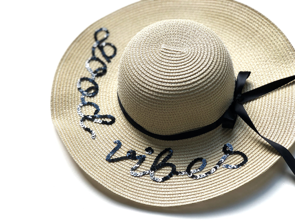 "Sequin Sun Hat in ""good vibes"""