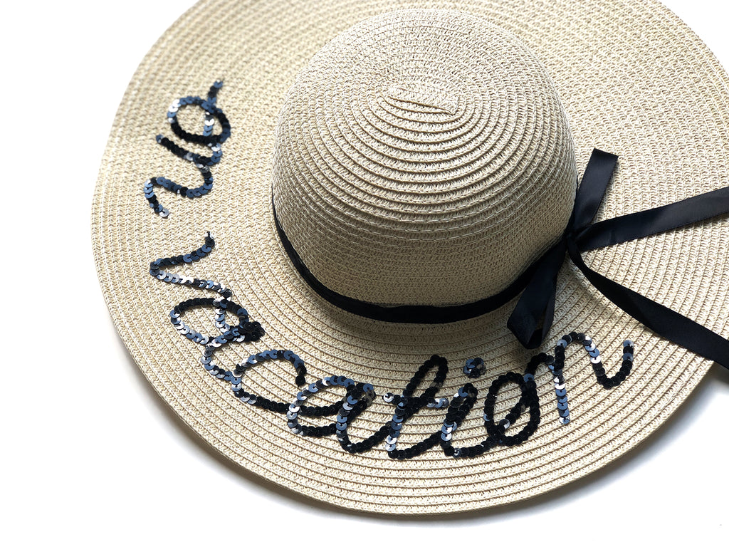 "Sequin Sun Hat in ""on vacation"""