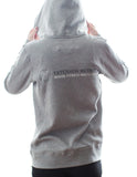 Grey Screen Print Zip Up Hoodie