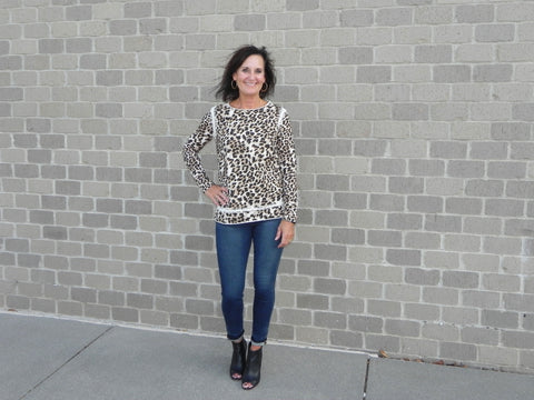 TRU LUXE Crochet Inset Animal Print Top