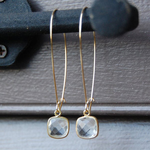 Amy Wells Designs Faceted Crystal Quartz in Gold Vermeil Bezel Earrings