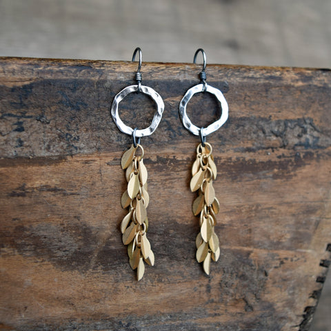 Amy Wells Designs Sterling Silver Ring with Matte Gold Leaf Earrings