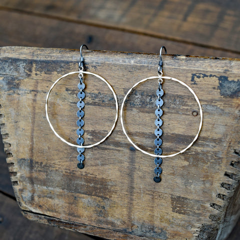 Amy Wells Designs Hammered Gold Hoop & Oxidized Sterling Chain Earrings
