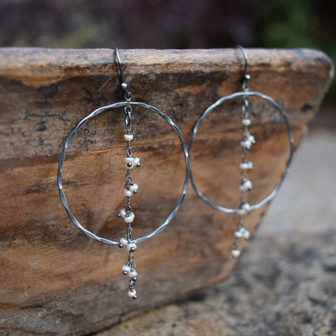 Amy Wells Designs Oxidized Sterling Silver Hoop Earrings with Fresh Water Pearls