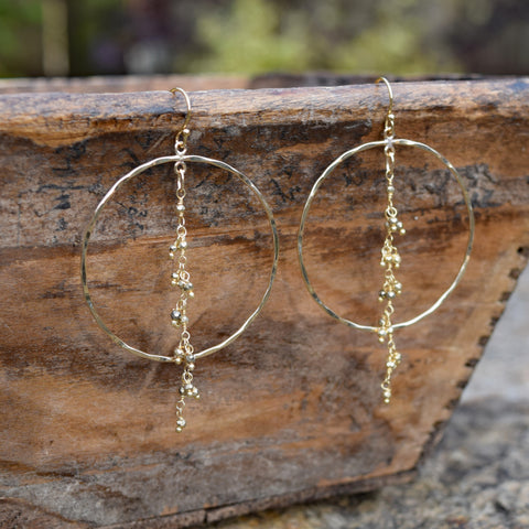 Amy Wells Designs Hammered Gold Filled Hoop + Faceted Pyrite Earrings