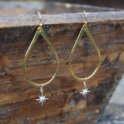 Gold Vermeil Tear Drop Hoop Earrings - Gold Star or Sterling Star