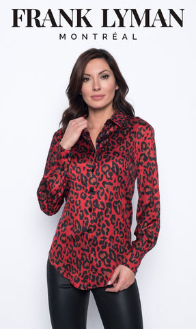 Frank Lyman Animal Print Woven Top Style# 203492