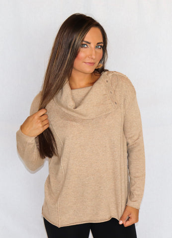 Sisters Cowl Neck Sweater with Button Detail