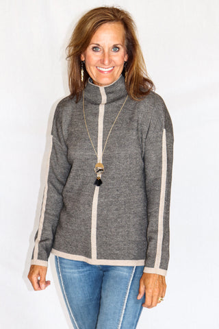 Sisters High Neck Pullover Top in Grey/Black