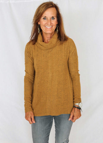 Miss Me High Low Cowl Neck Top