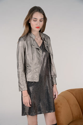 Molly Bracken Faux Leather Moto Jacket