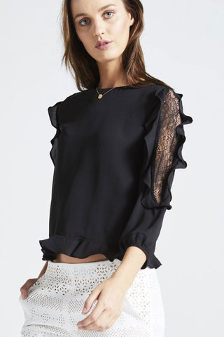 Angel Eye Black Ruffle Faith Top