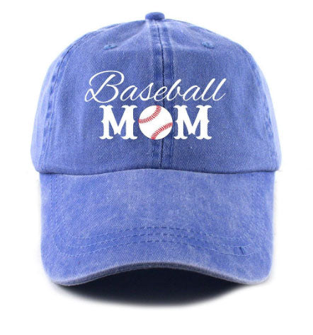 Katydid Baseball Mom Hat in Blue and Red