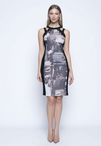 Picadilly Sleeveless Fitted Dress in Safari Multi