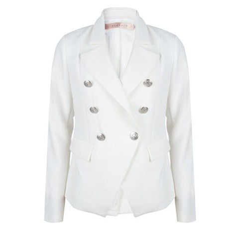 EsQualo Off White Crop Button Blazer