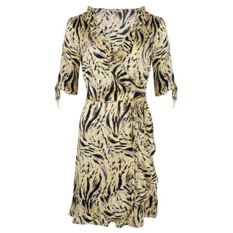 EsQualo Zebra Print Wrap Dress