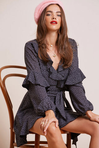 Finders Solar Dress in Black Polka Dot