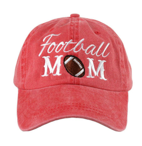 Katydid Football Mom Hat in Red and Blue