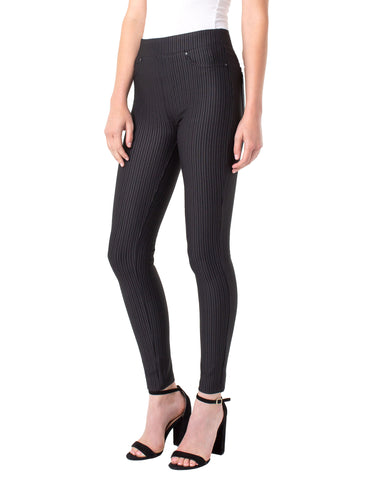 Liverpool Sienna Pull-On Legging in Black Texture Stripe