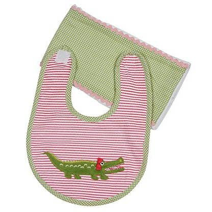 Maison Chic Gabby the Gator Bib and Burp Set