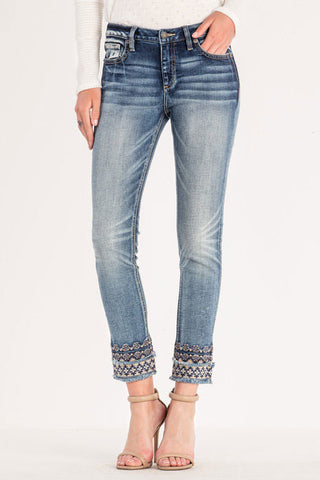 Miss Me Embroidered Hem Mid Rise Skinny Ankle