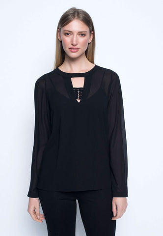 Picadilly Long Sleeve Blouse with Strap Detail