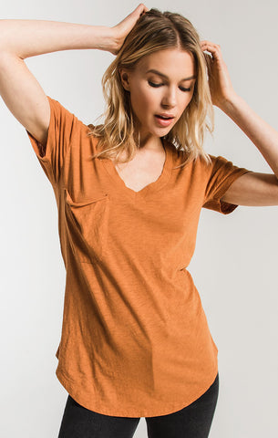 Z Supply Cotton Slub Pocket Tee in Warm Wood