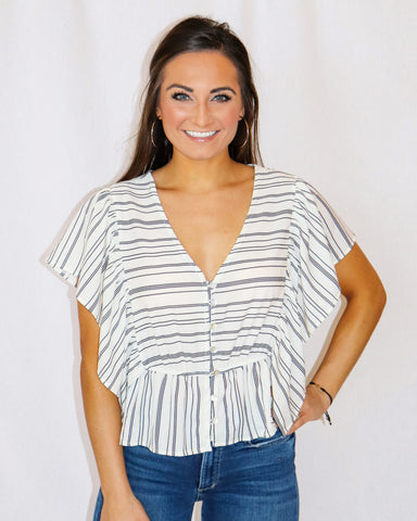 Miss Me Striped Button Front Flounce Top