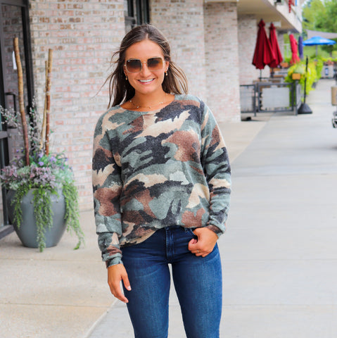 EsQualo Camo Scoop Neck Sweater