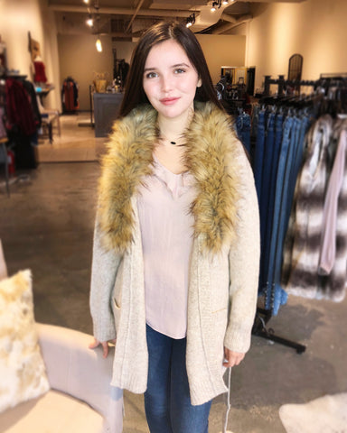 Apricot Removable Fur-Lined Cardi
