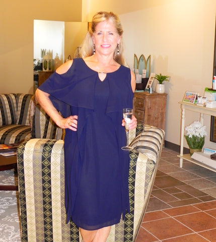 Picadilly Ruffled Dress with Cutout Shoulder in Deep Navy